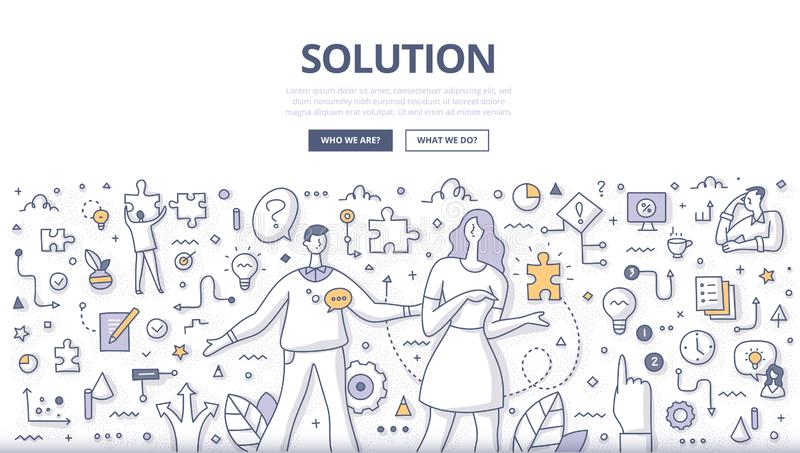 Solution Doodle Concept. Solution concept. Woman giving puzzle piece to man as a symbol of problem solving. Decision making process, business strategy and royalty free illustration