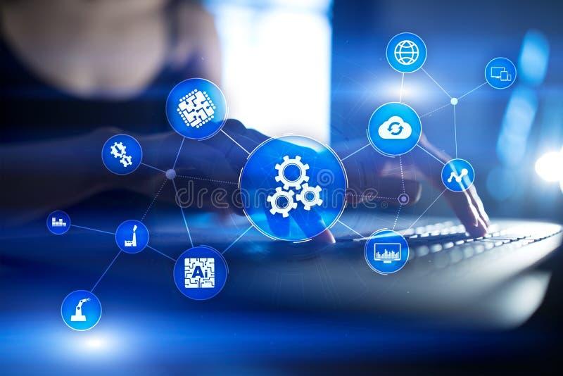 Solution et logiciel d'automation pour le processus d'affaires, le déroulement des opérations, la technologie moderne et l'automa image stock