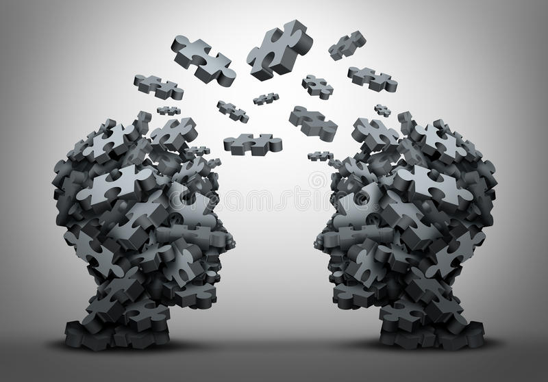Solution Exchange. And transfer of ideas concept as a group of jigsaw puzzle pieces shaped as two human heads exchanging answers to challenges as a business royalty free illustration