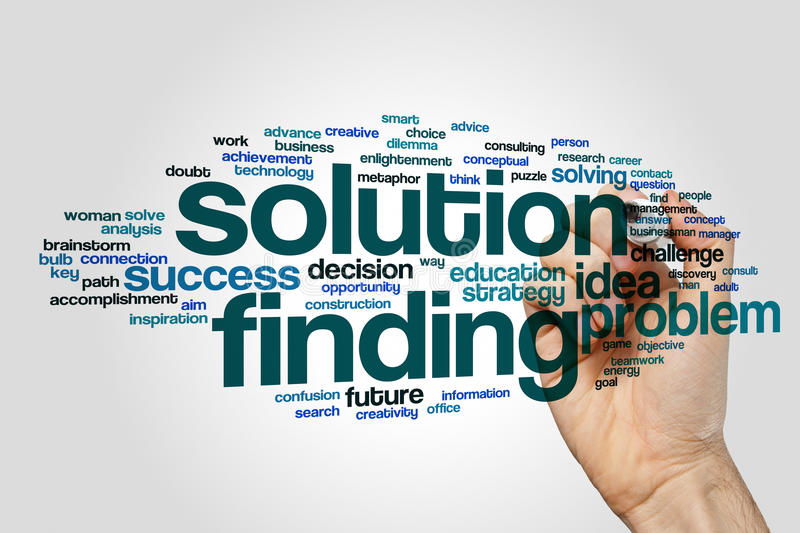 Solution finding word cloud. Concept stock image