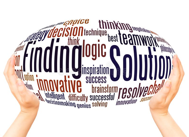 Solution Finding word cloud hand sphere concept. On white background royalty free stock photography