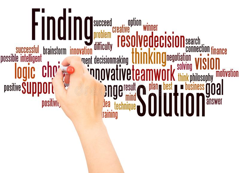 Solution Finding word cloud hand writing concept. On white background stock photos