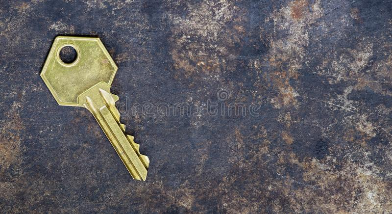 Solution golden key, web banner with copy space. Solution, success golden key on grunge metal background, web banner with copy space royalty free stock image