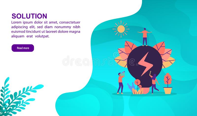 Solution illustration concept with character. Template for, banner, presentation, social media, poster, advertising, promotion stock illustration