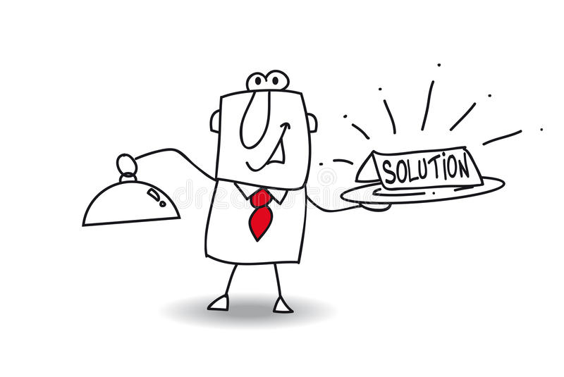 Solution. Joe brings a plateau with the word solution vector illustration