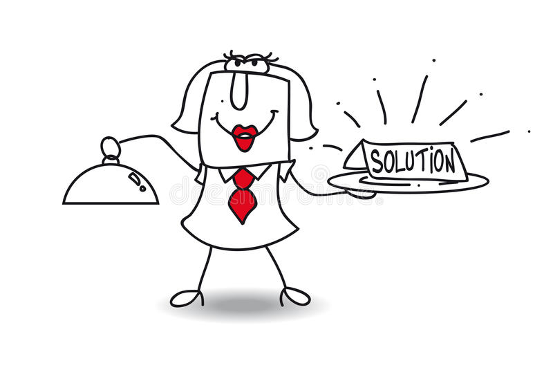 The solution. Karen brings a plateau with the word solution vector illustration
