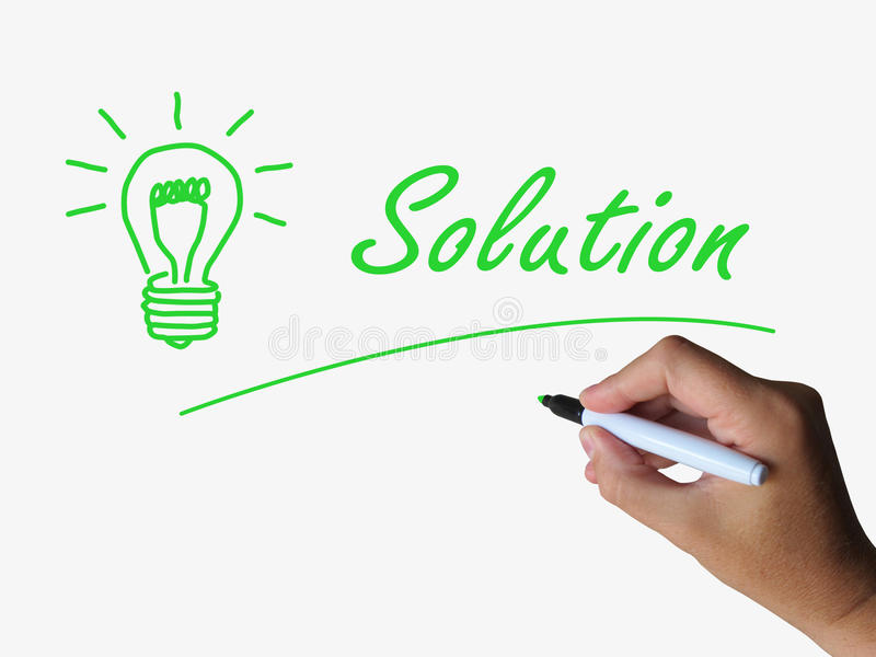 Solution Lightbulb Shows Solutions Resolutions stock illustration