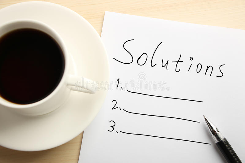 Solution list stock photo