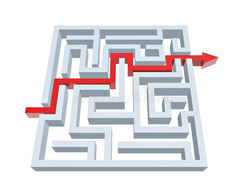 Solution of maze vector illustration