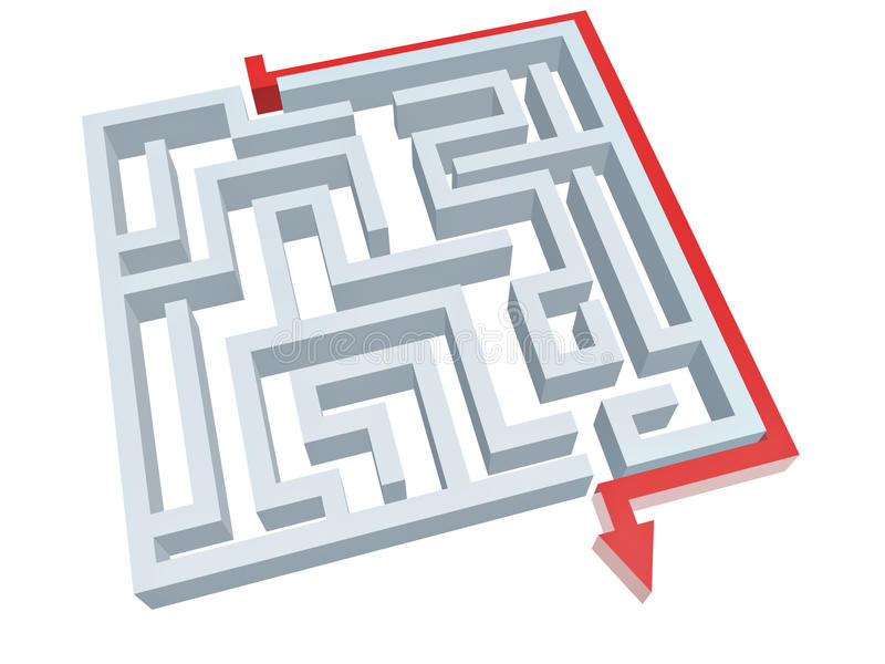 Download Solution Of Maze Royalty Free Stock Images - Image: 21209849