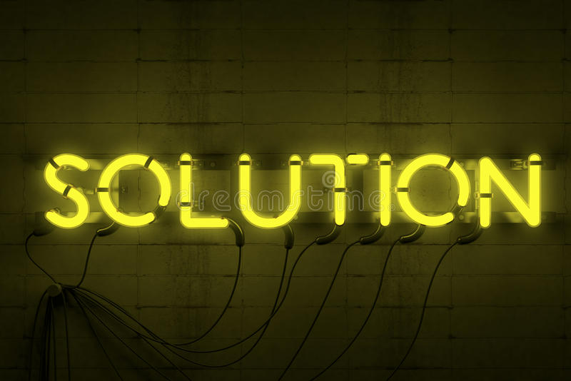Solution Neon Sign. 3 D render of neon sign written Solution turned on royalty free stock photo