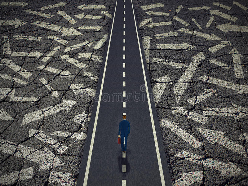 Solution path business success concept. Solution path business concept. Businessman on a clear road cutting through confusing road arrows. Success direction stock photos
