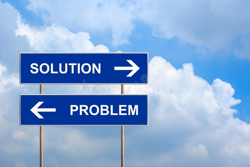 Solution and problem on blue road sign. With blue sky stock photo