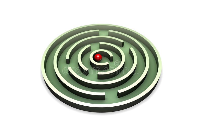 Solution of the problem. Red ball in the center of the green maze. Isolated over white background vector illustration