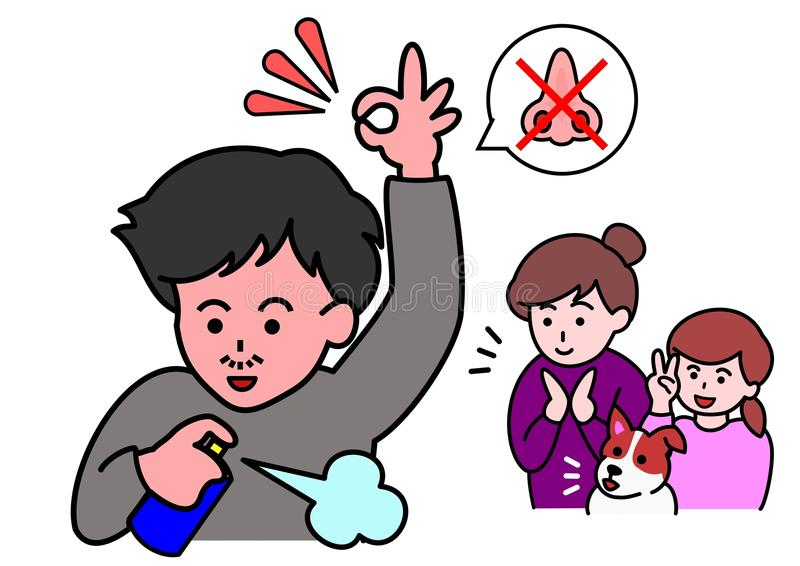 Solution of smell. Man solved his smell trouble stock illustration