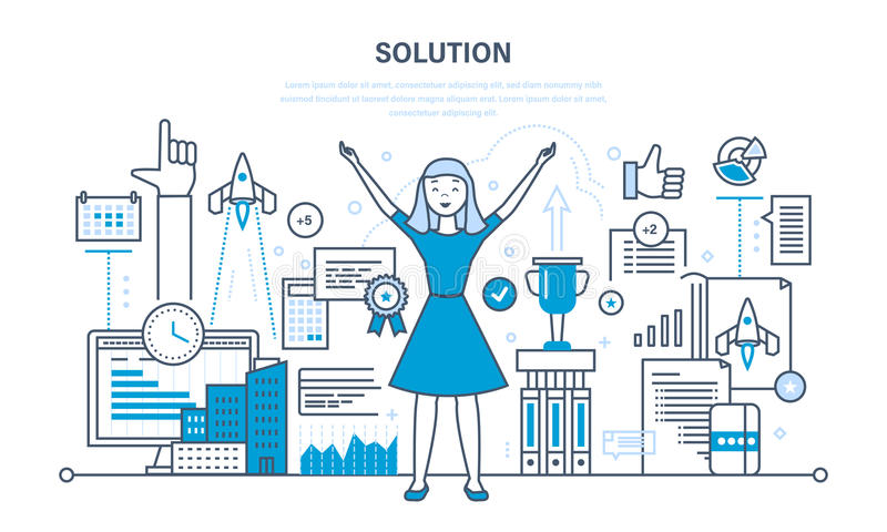 Solution, success in work, knowledge, achieving goals, high results, development. Solution concept. Success in work, knowledge acquisition, achieving goals vector illustration