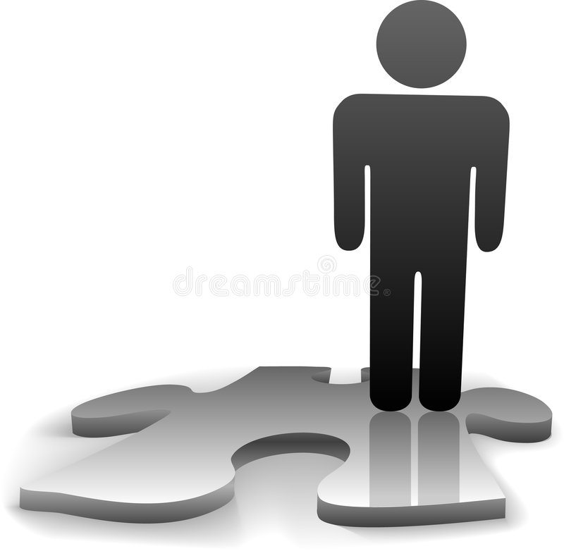 Solution Symbol Person Jigsaw Puzzle Piece. A symbol person stands on the jigsaw puzzle piece needed to complete the solution to a problem vector illustration
