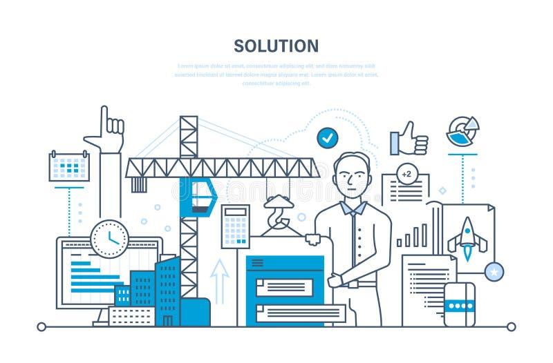 Solution of tasks, business solutions, marketing, planning, application development, software. stock illustration