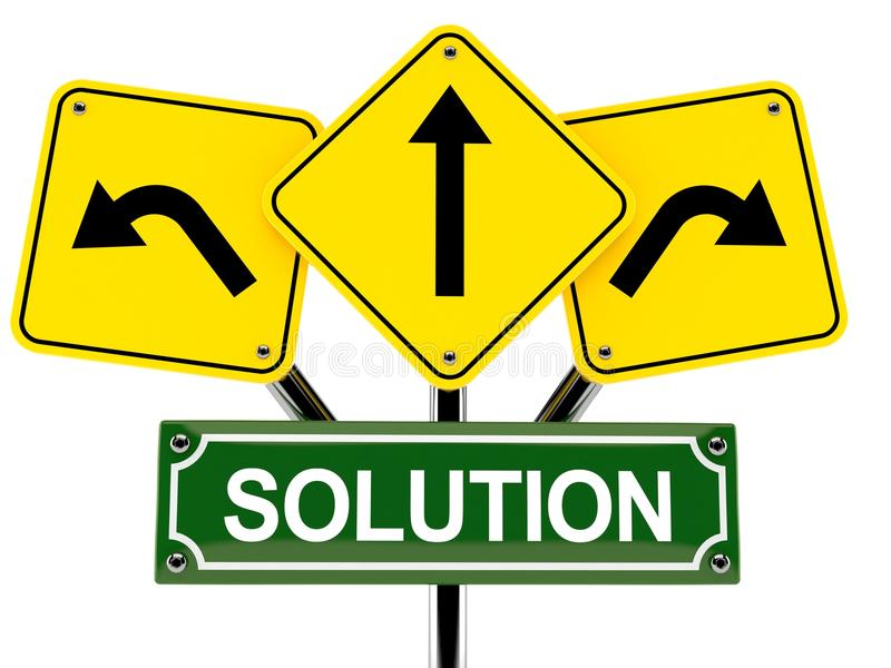 Solution text with road signs stock illustration