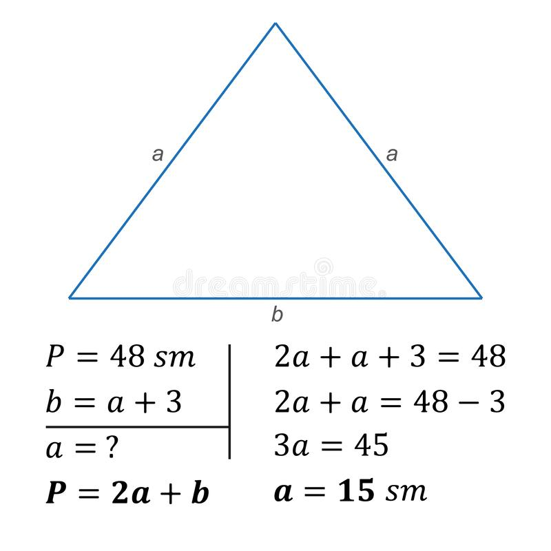 Algebraic equation with one variable positive whole numbers. The solution of a textual algebraic problem on the compilation of an equation using one variable royalty free illustration