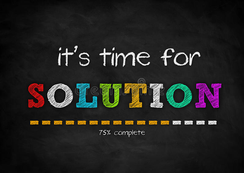 SOLUTION. It is time for a SOLUTION - chalkboard concept stock illustration