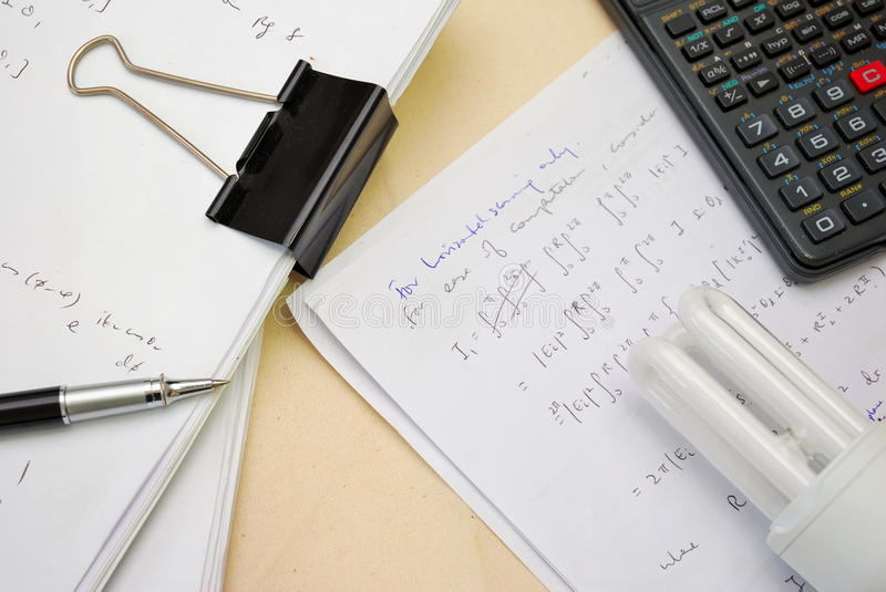 Download Solution to math equations stock photo. Image of paper - 14188302