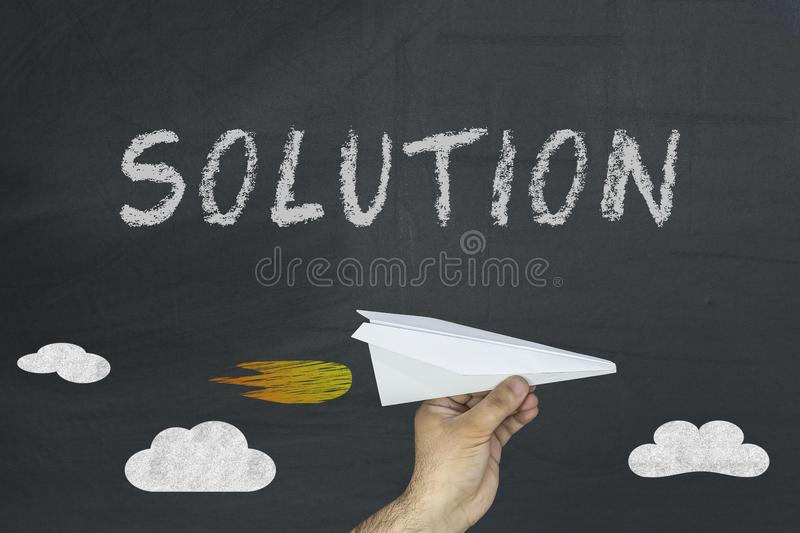 Solution word on the blackboard. Problem - idea - solution. Team - business concept. stock photography