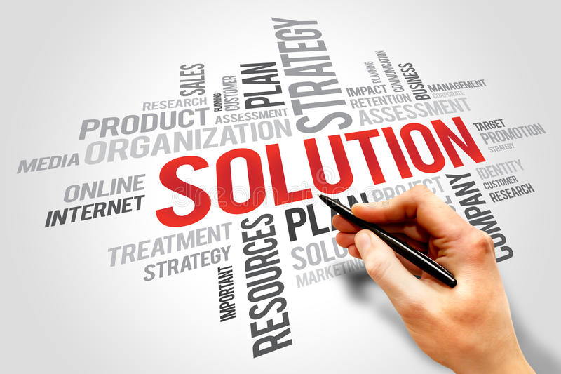 SOLUTION word cloud, business concept. Organization plan stock image