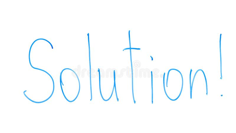 Solution word written on glass, finding and solving problems, reasonable way. Stock photo stock photos