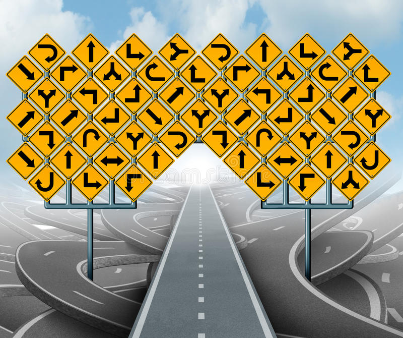 Solutions For Business. Leadership as a clear strategy and with a straight path to success choosing the right strategic path with yellow traffic signs cutting stock illustration