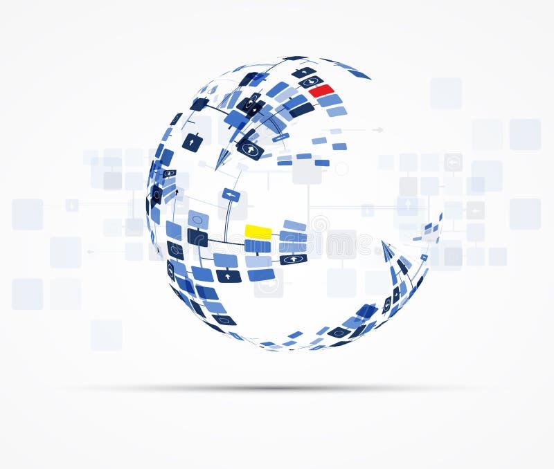 Solutions d'affaires de concept de nouvelle technologie d'ordinateur d'Internet illustration stock