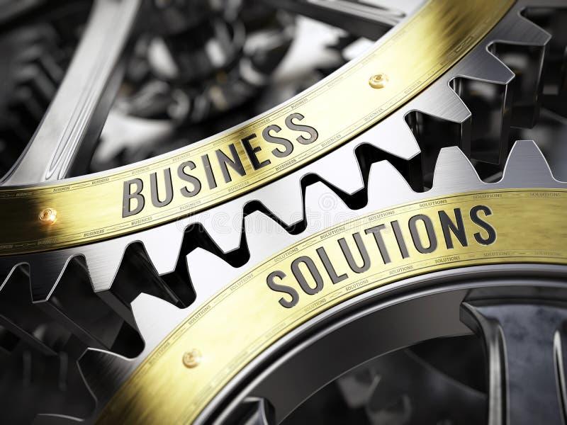 Solutions d'affaires de concept sur des roues dentées illustration stock