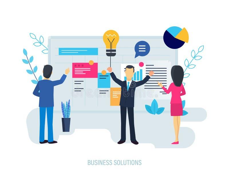 Solutions d'affaires, système de représentation d'augmentation, planification, indicateur financier d'analyse illustration libre de droits