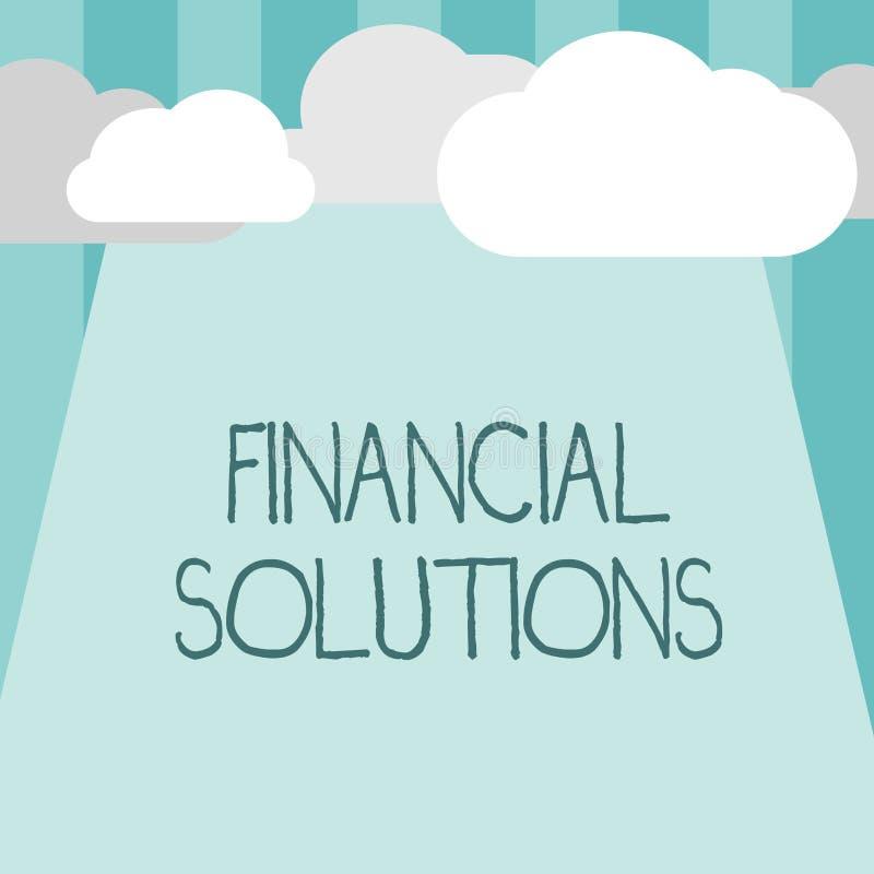Solutions financières des textes d'écriture de Word Concept d'affaires pour pour épargner l'argent sur les besoins d'assurance et illustration stock
