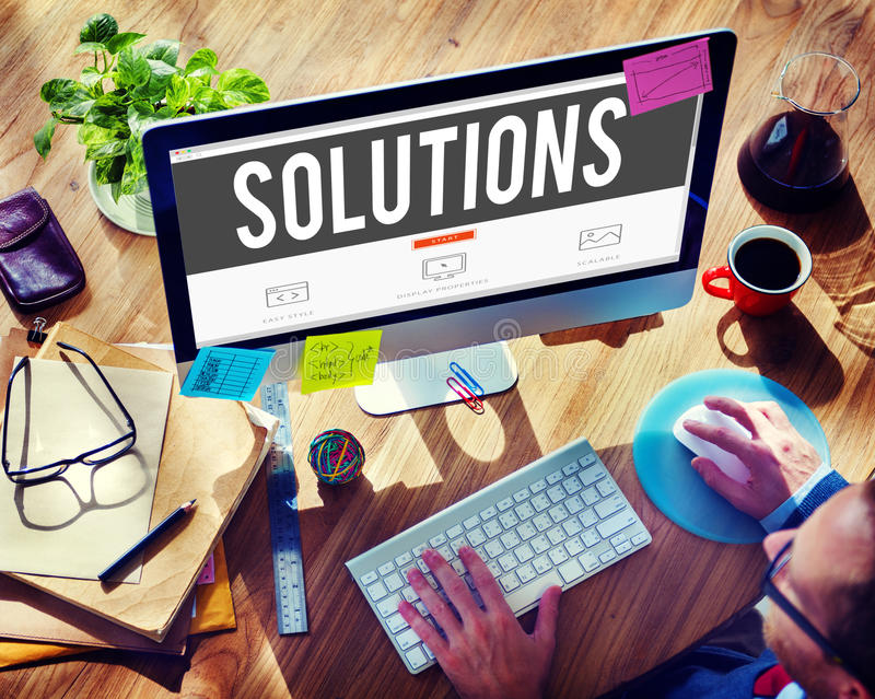 Solutions Solving Problem Improvement Examining Concept royalty free stock image