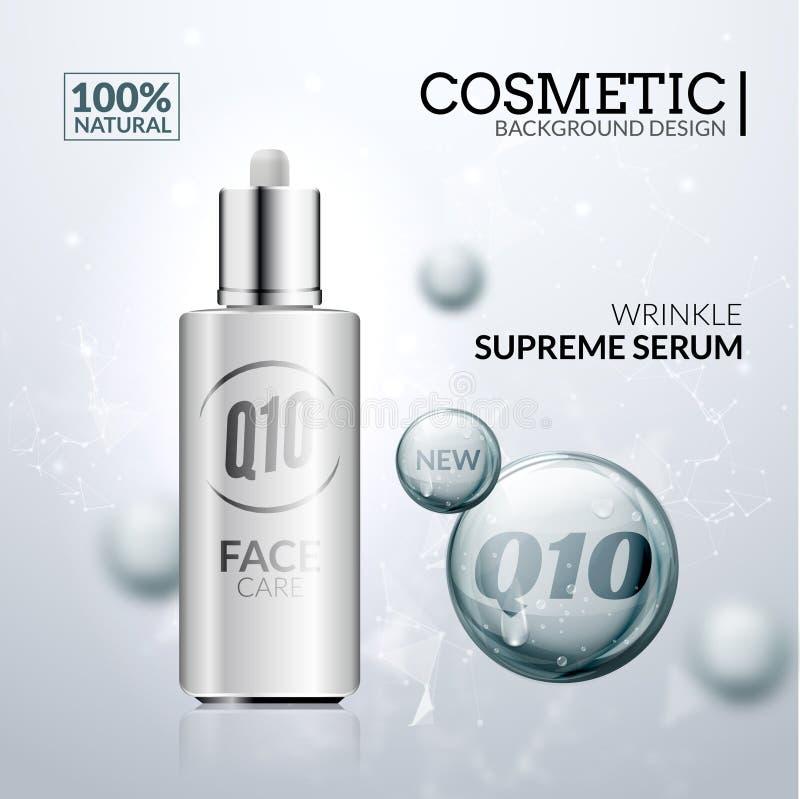 Soluzione cosmetica del collagene Progettazione dell'essenza del siero di cura di pelle Trattamento ialuronico per bellezza del f royalty illustrazione gratis