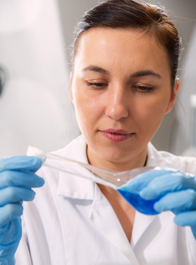 Soluzione d'esame dello scienziato nella capsula di Petri ad un laboratorio fotografia stock libera da diritti
