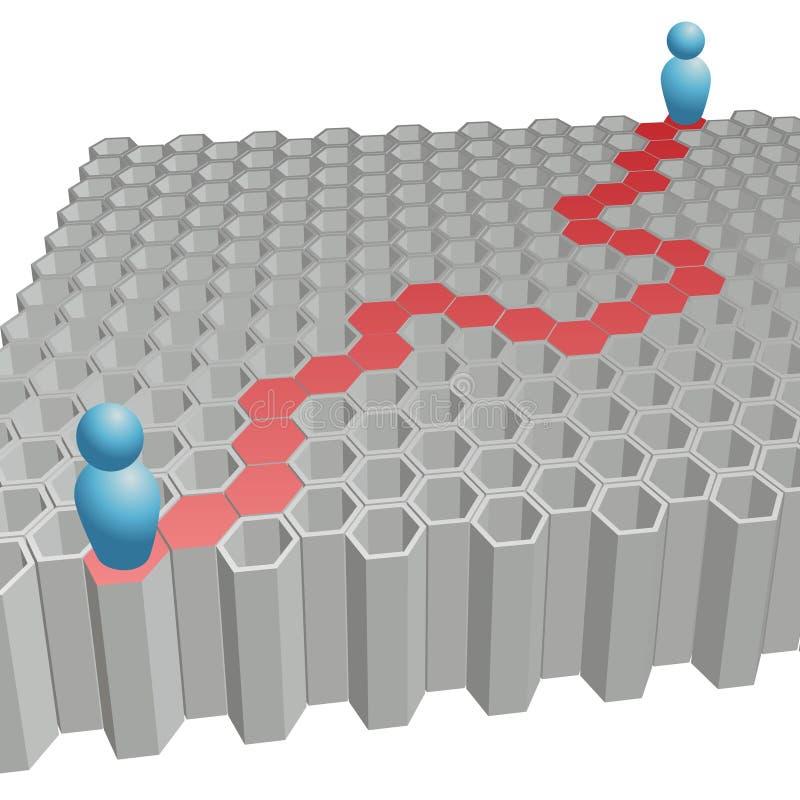 Soluzione del percorso di esagono di ricerca della gente al puzzle illustrazione di stock