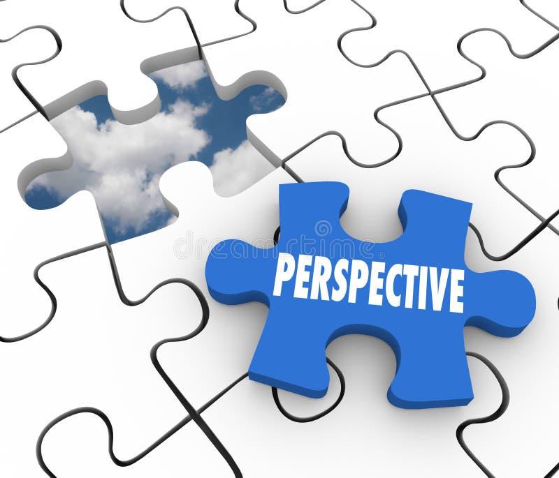 Soluzione di piano di visione del pezzo di puzzle di prospettiva riuscita illustrazione di stock