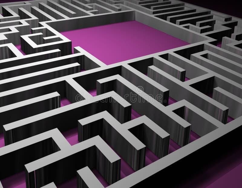 Soluzione di puzzle del labirinto fotografia stock