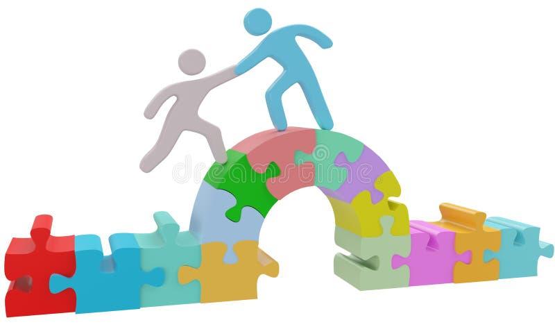 Soluzione di puzzle del ponte di aiuto della gente illustrazione di stock