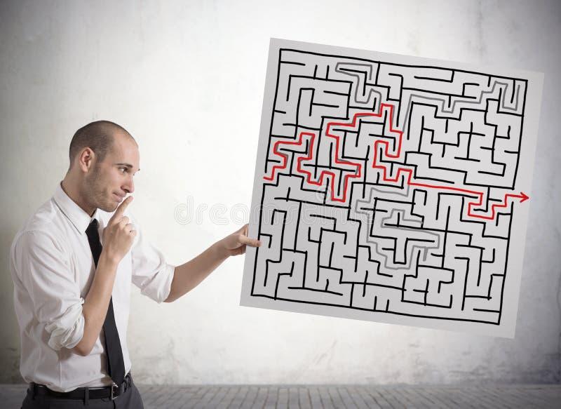 Soluzione per il labirinto immagini stock