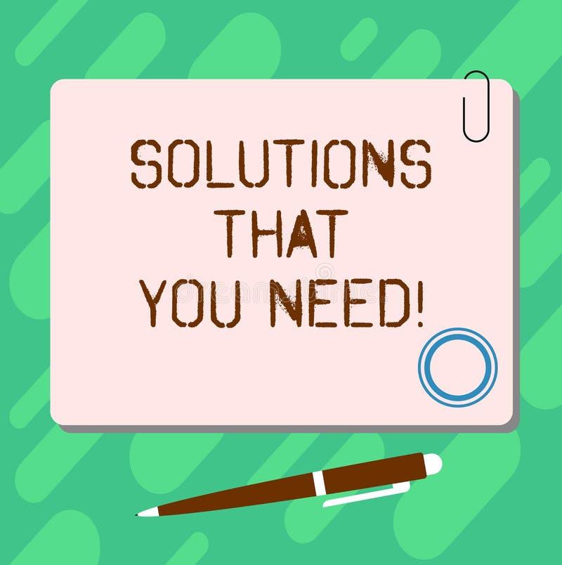 Soluzioni del testo della scrittura che voi bisogno I consigli di significato di concetto aiutano l'assistenza di sostegno che pr fotografia stock libera da diritti