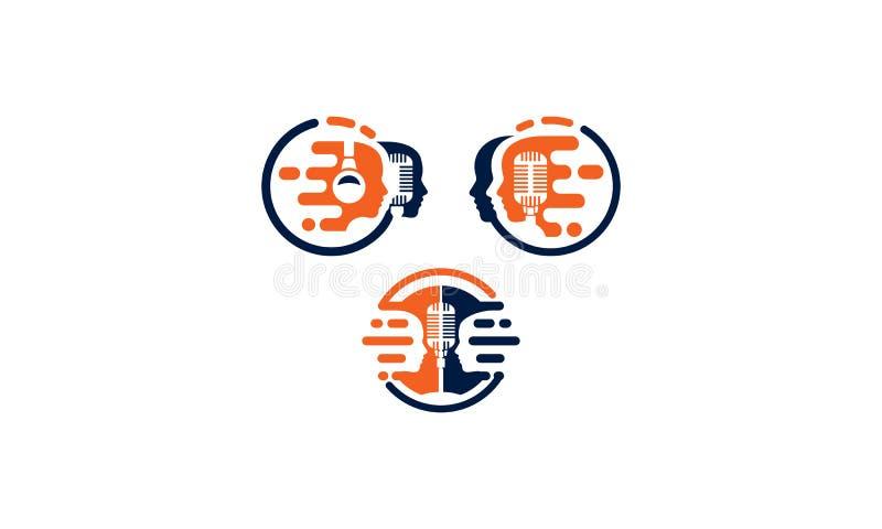 Soluzioni di vettore dell'icona di logo di podcast di affari illustrazione di stock