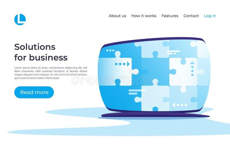 Soluzioni per l'affare, gestione di progetti, strategia, analisi a illustrazione di stock