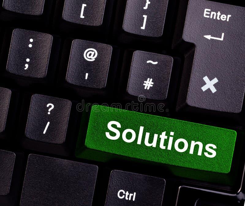 Soluzioni sulla tastiera immagini stock