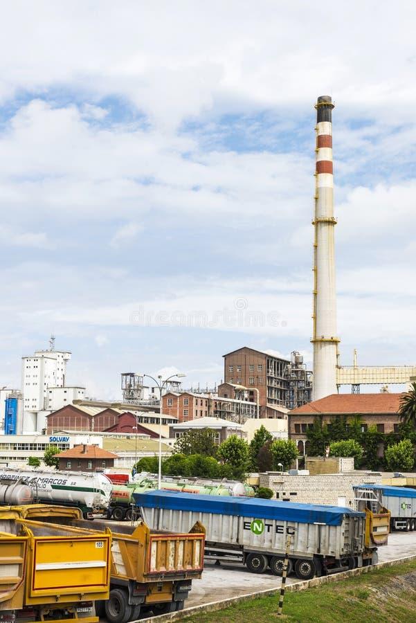 Solvay公司,西班牙化工厂  库存图片