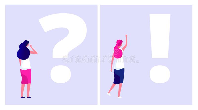 Solve problem concept. Troubled woman student thinking with question mark dilemma understand solution business problems. Doubt vector. Woman solve difficulty vector illustration