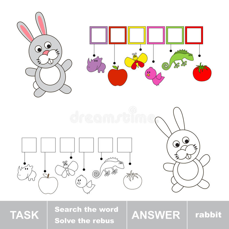 Solve the rebus. Find hidden word RABBIT vector illustration