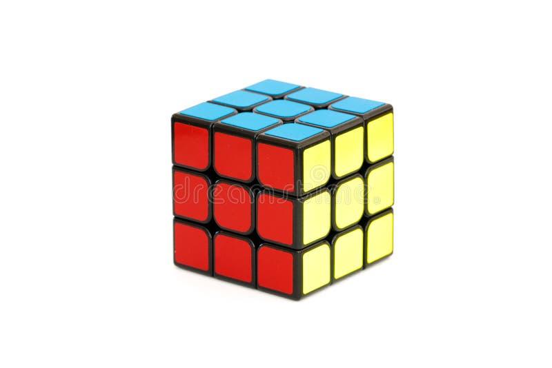 Solved Rubik`s cube isolated on the white background. Sarajevo, Bosnia and Herzegovina- February 24, 2018 : Solved Rubik`s cube isolated on the white background royalty free stock images